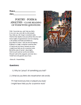 Edna St. Vincent Millay Well I Have Lost You - poetry questions worksheet
