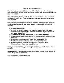 Edtiorial/Persuasive Article Assignment