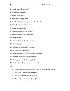 Educating Rita - Comprehension Questions