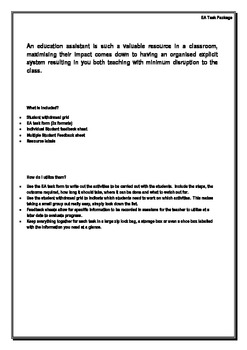 Education Assistant Task Templates Package