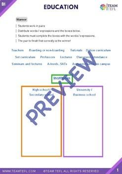 Education B1 Intermediate Lesson Plan For ESL