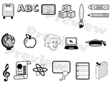 Education Clipart Collection for School Teachers - Grayscale Icons K-6