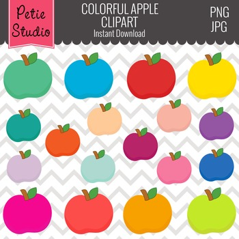 Education Clipart, Teacher Clipart, Colorful Apple Clipart - Objects104