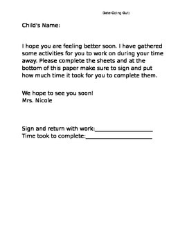 Education Packet Template Sheet