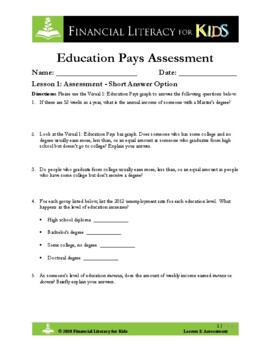 Lesson 1: Education Pays Assessment