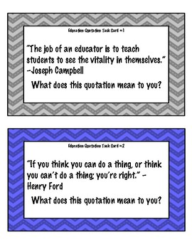 Education Quotation Ice Breaker Task Cards