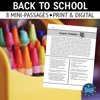 Back to School Short Reading Passages
