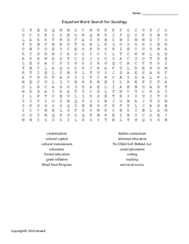 Education Word Search for Sociology