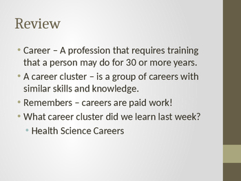 Education and Training Career Cluster PowerPoint