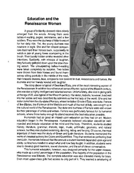 Education and Women in the Renaissance Reading Passage