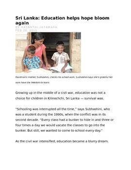 Education in Sri Lanka- using evidence from the text