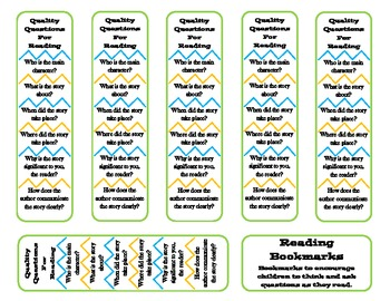 Educational Bookmarks - Reading Questions