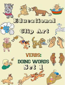 Educational Clip Art - Verbs - Doing Words - Set 1
