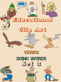 Educational Clip Art - Verbs - Doing Words - Set 3