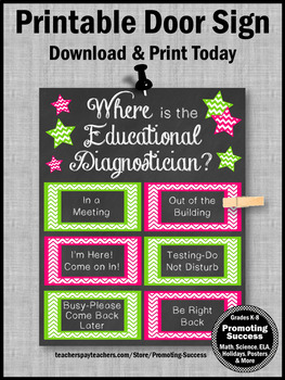 Where is the Educational Diagnostician Door Sign Pink and Green
