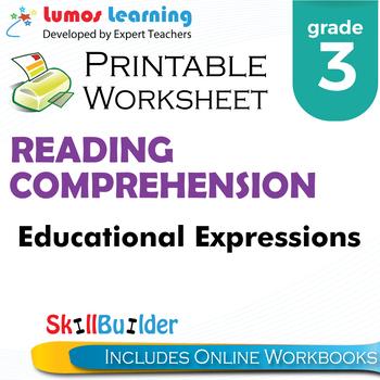 Educational Expressions Printable Worksheet, Grade 3