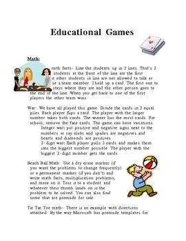 Educational Game Ideas-- FREE!