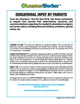 Special Education Parent IEP Input