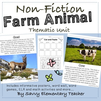 Educational Non-Fiction Farm Animal Thematic Unit *Math, Literacy and Fun work*