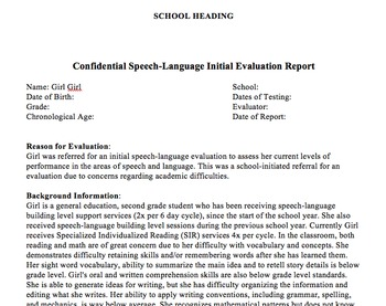 Educational Speech-Language Initial Eval/Re-eval Report Templates CELF-5 (5-21)