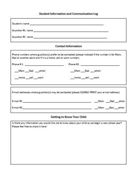 Student Communication and Information Log