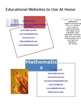 Educational Websites to use at home