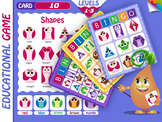 Educational bingo game  with shapes in the form of colored owls