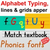 Educational typefaces, type Alphabet with lines and grids,