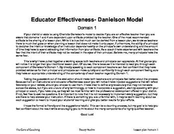 Educator Effectiveness Danielson's Domain 1 Lesson Plan Template