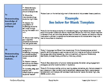 Educator Effectiveness Danielson's Domain 1 Lesson Plan Template