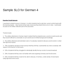 Educator Effectiveness (EE) Student Learning Objective (SLO) for German Teachers