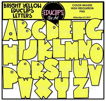 Educlips Signature Letters - Bright Yellow Clip Art Set {Educlips Clipart}