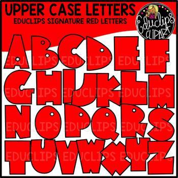 Educlips Signature Letters - Red Clip Art Set {Educlips Clipart}