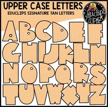 Educlips Signature Letters - Tan Clip Art Set {Educlips Clipart}