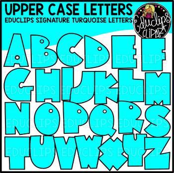 Educlips Signature Letters - Turquoise Clip Art Set {Educlips Clipart}