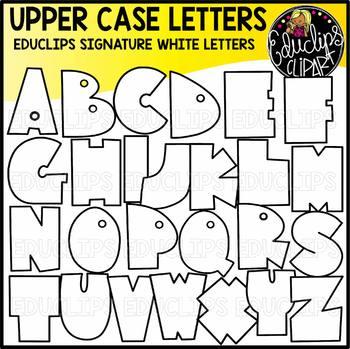 Educlips Signature Letters - White Clip Art Set {Educlips Clipart}