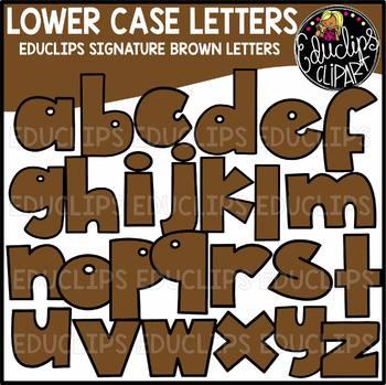 Educlips Signature Lower Case Letters Clip Art - BROWN - {Educlips Clipart}