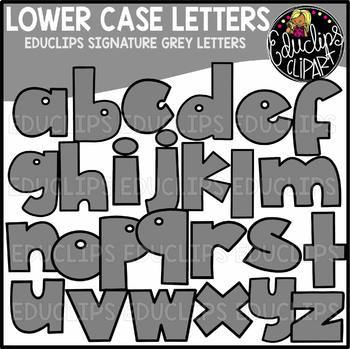 Educlips Signature Lower Case Letters Clip Art - GREY - {Educlips Clipart}