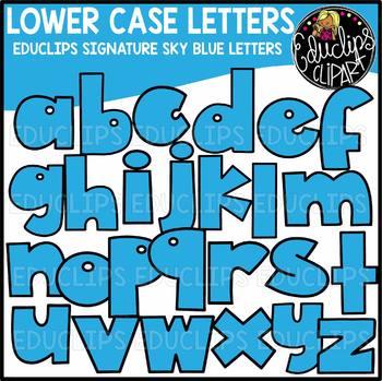 Educlips Signature Lower Case Letters Clip Art - SKY BLUE - {Educlips Clipart}