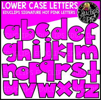 Educlips Signature Lower Case Letters Clip Art - HOT PINK -  {Educlips Clipart}
