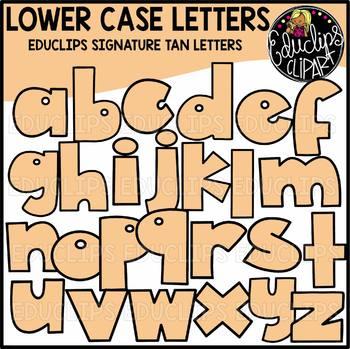 Educlips Signature Lower Case Letters Clip Art - TAN - {Educlips Clipart}