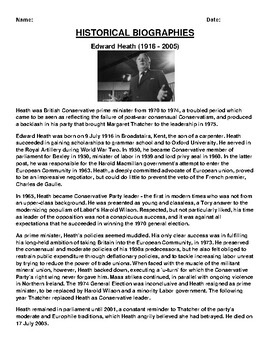 Edward Heath Biography Article and (3) Assignments
