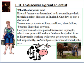 Edward Jenner and Smallpox Lesson (Grades 2 to 5)