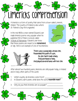 Edward Lear Limerick Writing Activity