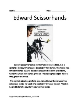 edward scissorhands teaching resources teachers pay teachers  edward scissorhands movie tim burton info article review questions vocabulary