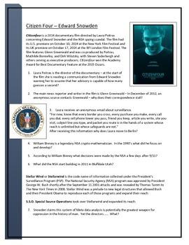 Edward Snowden - Citizenfour Documentary worksheets