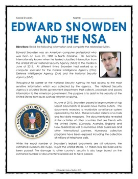Edward Snowden and the NSA - Reading, Questions, Assignments, Key
