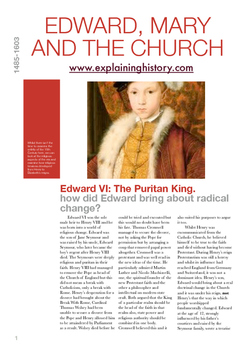 Edward VI and Mary I reformation and counter reformation