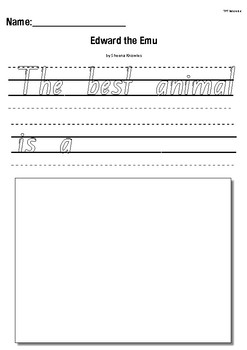 Edward the Emu by Sheena Knowles- Writing Response Worksheet Activity