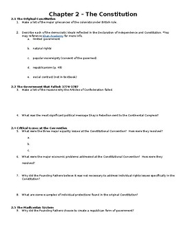 Edwards Government in America AP Edition Ch. 2 Reading Guide (includes REDESIGN)